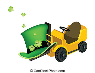 Yellow Forklift Truck Loading Four Leaf Clovers - Symbols...