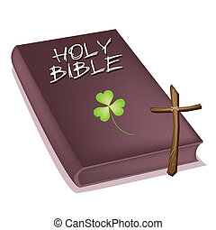 Holy Bible with Wooden Cross and Clover