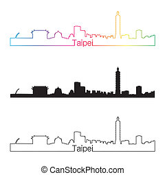 Taipei skyline linear style with rainbow in editable vector...