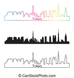 Tokyo skyline linear style with rainbow in editable vector...