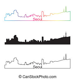 Seoul skyline linear style with rainbow in editable vector...