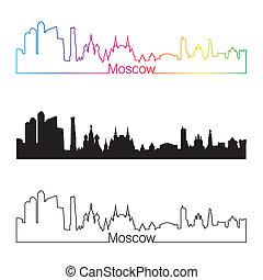 Moscow skyline linear style with rainbow