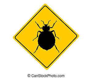 Bed bug warning sign