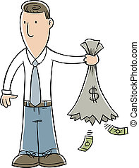 Empty Money Sack - A cartoon businessman holds a sack of...