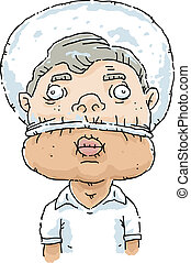 Plastic Bag on Head - A cartoon man inflates a plastic bag...