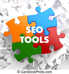 SEO Tools on Multicolor Puzzle