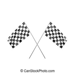 Two Checker Flags Crossed Isolated on a black Background