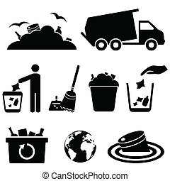 Garbage, trash and waste icons - Garbage, trash and waste...