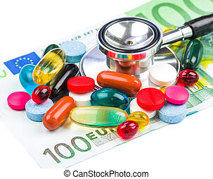 Pills and money - Closeup photo of colorful pills...