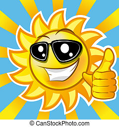 smiling sun - Smiling sun showing thumb up illustration clip...