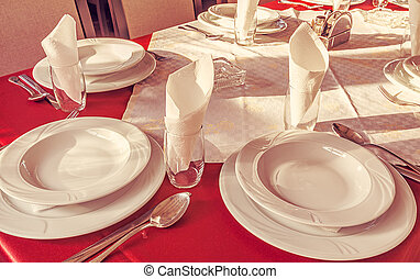Restaurant Prepared Table - White empty plates and...
