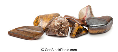 semi-precious stones, brown color scheme, isolated on white