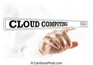 Cloud computing written in a navigation bar on a virtual...