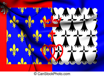Flag of Pays de la Loire, France Close Up