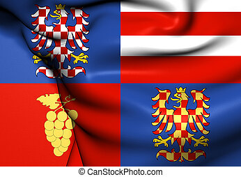 Flag of South Moravian Region, Czech Republic Close Up