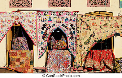 Traditional colorful indian fabric textile,Rajasthan, India