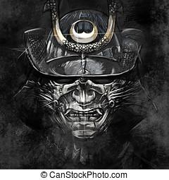 ilustraciones, japonés, samurai, guerrero,...