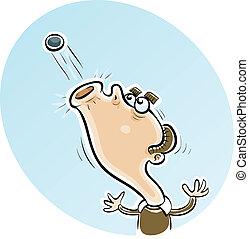 Spitting Ball - A cartoon man spitting a ball.