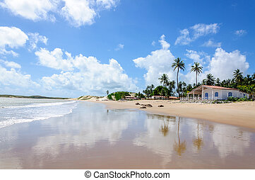 Beach with sand dunes and house, Pititinga, Natal Brazil