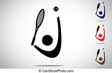 Tennis player playing by serving with racket and tossing...