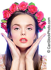 roses beauty - Fashion shot of a beautiful girl in a wreath...