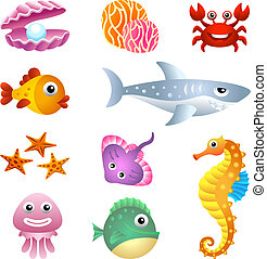 Sea creatures illustration set.