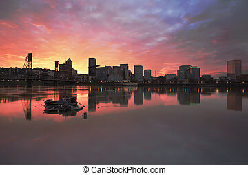 Colorful Sunset Over Portland Downtown Waterfront - Colorful...
