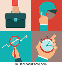 Vector business concepts in flat style - male hands and...
