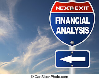 Financial analysis road sign