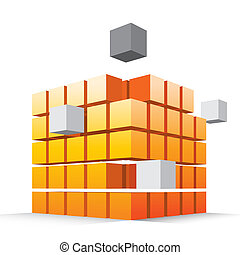 Cube - Orange and silver make cube together.