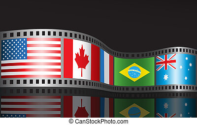 Film reel with different flags.