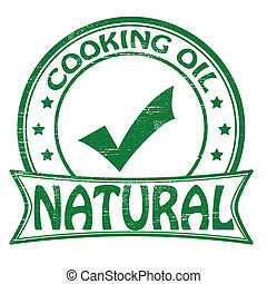 Natural cooking oil - Stamp with text cooking oil inside,...