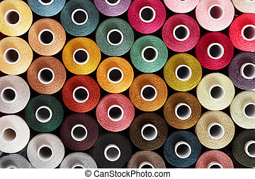 Sewing threads - Many colorful threads for embroidery as a...