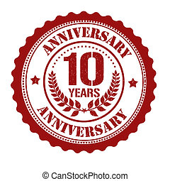 10 years anniversary stamp - 10 years anniversary grunge...