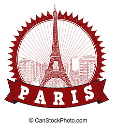 Paris stamp - Red grunge rubber stamp with the Eiffel Tower...