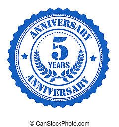 5 years anniversary stamp - 5 years anniversary grunge...