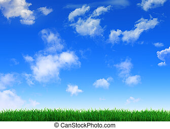 Sky and grass - Serene sky whit some white clouds and fresh...
