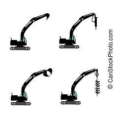 excavators with attachments - excavators with various...