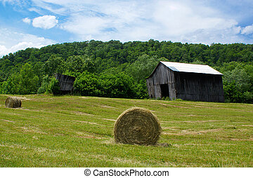 Farm with Barn and Hay Bail - Farm in Kentucky. Lee County,...