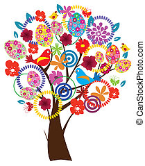 Ester tree - vector Easter tree with flowers, eggs, birds