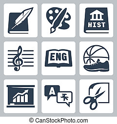 Vector school subjects icons set: literature, art, history,...