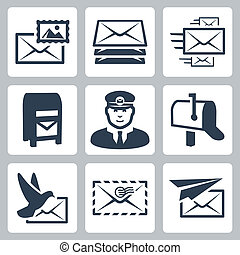 Vector post service icons set
