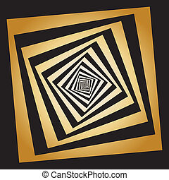 Abstract descending squares frames hellix sugestion theatrical gold background element