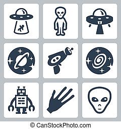 Vector aliens and ufo icons set