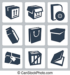 Vector isolated package icons set 1