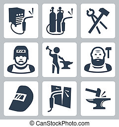 Vector welder and blacksmith icons set