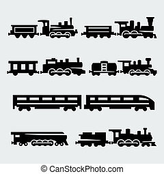 vecteur, isolé, trains, silhouettes, ensemble