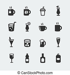 Vector beverages mini icons set
