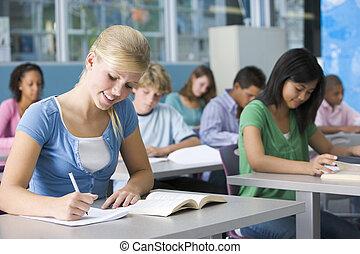 colegiala, alto, escuela, clase