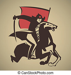 Red Army man with saber and flag galloping on horse vector...